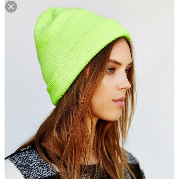 Urban outfitters neon green yellow beanie hat e76064e8db2